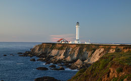 Point Arena Lighthouse. At sunset Royalty Free Stock Photos