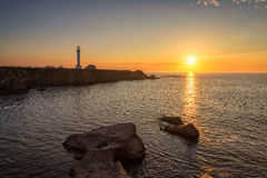 Point Arena Lighthouse at sunset. California royalty free stock image