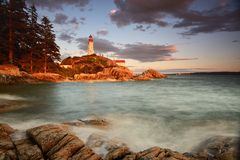 Point Atkinson Lighthouse at sunset Stock Image