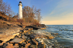 Point Aux Barques Lighthouse Michigan,USA. Beautiful early spring sunrise capture of Aux Barques Lighthouse, near Port Hope, Michigan USA Stock Photos