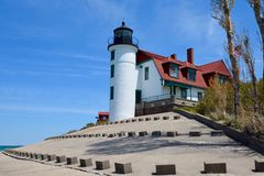 Point Betsie Lighthouse from Lake View Royalty Free Stock Photos