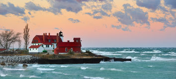 Point Betsie Lighthouse Sunrise, Lake Michigan USA Royalty Free Stock Photos