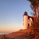 Point at Betsy Lighthouse. Sunset at Point Betsy, Michigan Royalty Free Stock Image