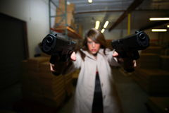 Point blank dual pistols Royalty Free Stock Photo