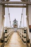 Point Bonita Lighthouse on a foggy day, Marin Headlands, San Francisco bay area, California royalty free stock image