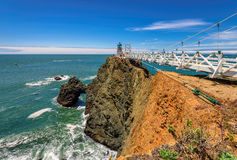 Point Bonita Lighthouse on the rock under blue sky, California. USA stock photos