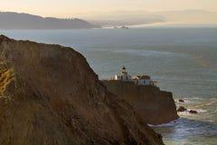 Point Bonita Lighthouse in San Francisco CA USA. Point Bonita Lighthouse by San Francisco Bay entrance in the Marin Headlands near Sausalito California USA stock image
