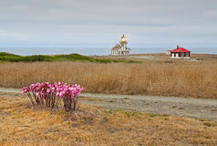 Point Cabrillo lighthouse on a cloudy day Stock Photography