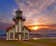Point Cabrillo Lighthouse. Sunset. Stock Photos
