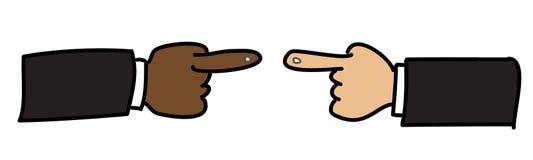 Point choisi de main gauche et de main droite Images libres de droits