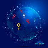 Point constitutes a world map, GPS positioning constitutes the world`s big data technology  background, meaning globalizatio. N, internationalization, science Stock Photo