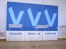 POINT CULMINANT DE BUDGET DE PARTIE DE DENMARK_VENSTRE-LIBERAL Photographie stock libre de droits