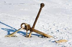 Point d'attache rouillé en glace Photographie stock libre de droits