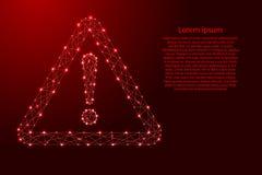 Point d'exclamation de signe de danger dans la triangle du polygo futuriste illustration stock