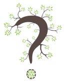 Point d'interrogation avec des branches + des feuilles Images libres de droits
