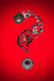 Point d'interrogation avec des pièces d'auto pour la voiture Image stock