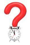 Point d'interrogation avec l'horloge d'alarme Photographie stock