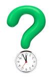 Point d'interrogation avec l'horloge d'alarme Photo libre de droits