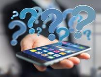 Point d'interrogation bleu montré sur une interface futuriste - 3d les déchirent Image libre de droits