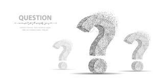 Point d'interrogation comme ondulation de l'eau illustration abstraite du vecteur 3d d'isolement sur le fond blanc Demandez le sy photographie stock libre de droits