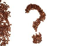 Point d'interrogation de vue supérieure de plan rapproché de grains de café photographie stock