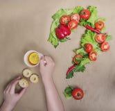 Point d'interrogation des légumes frais Images stock