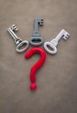 Point d'interrogation et clés rouges jpg Images stock