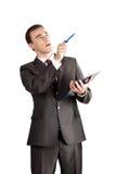 Point de personne d'affaires avec le crayon lecteur Images libres de droits