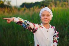 Point de petite fille avec un doigt Photos libres de droits