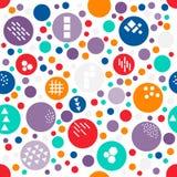 Point de polka aléatoire coloré de modèle sans couture de taille différente avec la texture de différentes formes géométriques :  Images stock