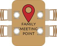 Point de rencontre de famille ? la table ronde illustration stock