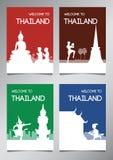 Point de repère célèbre et symbole de la Thaïlande dans le style de silhouette avec le Se multi de brochure de thème de couleur illustration libre de droits