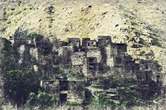 Point de repère célèbre de Hevsureti en Géorgie - ruines de vill médiéval illustration de vecteur