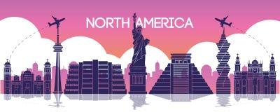 Point de repère célèbre de l'Amérique du Nord, destination de voyage, silhouette d illustration de vecteur