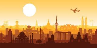 Point de repère célèbre supérieur de l'Asie, couleur de rose de conception de silhouette illustration libre de droits