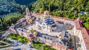 Point de repère chrétien du nouveau monastère d'Athos images libres de droits