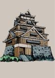 Point de repère de renommée mondiale de croquis de carte blanche : Château Japon de Kumamoto illustration stock