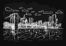 Point de repère de ville sur le fond noir Photographie stock libre de droits