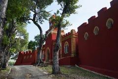 Point de repère historique chrétien de fort, île de St Thomas images stock