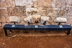 Point de repère historique 18 de citadelle d'Anjar photographie stock