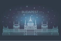 Point de repère hongrois de voyage de ligne mince icône de bâtiment historique Images libres de droits