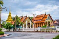 Point de repère de Nan - Wat Phra That Chang Kham, Nan Province Is une autre attraction touristique importante de Nan Province photographie stock