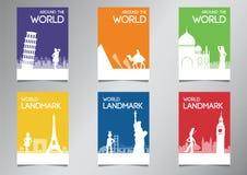 Point de repère de renommée mondiale et symbole dans le style de silhouette avec l'ensemble multi de brochure de thème de couleur illustration libre de droits