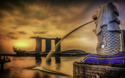 Point de repère Merlion de Singapour Images libres de droits