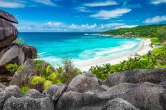 Point de vue étonnant sur les Seychelles Images libres de droits