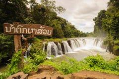 Point de vue de parc national de Bajeng de cascade de Tad Pha Souam, Paksa Images stock