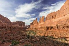Point de vue de Park Avenue en parc national de voûtes près de Moab, Utah Image stock