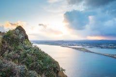 Point de vue de Songsan Ilchulbong en île de Jeju, Corée du Sud photos stock