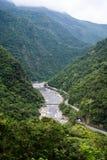 Point de vue scénique de barrage sur la rivière de Liwu, parc national de Taroko Image stock