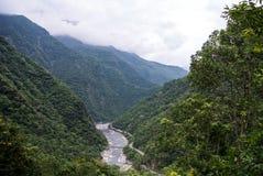 Point de vue scénique de barrage sur la rivière de Liwu, parc national de Taroko Images libres de droits
